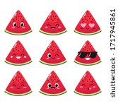 watermelon slice character with ...   Shutterstock .eps vector #1717945861