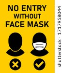 no entry without face mask icon.... | Shutterstock .eps vector #1717958044