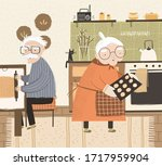grandparents stay at home on... | Shutterstock .eps vector #1717959904