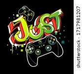 graffiti pattern with joystick... | Shutterstock .eps vector #1717981207