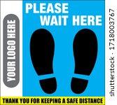 Please Wait Here Floor Decal  ...