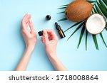 Female Applying Coconut Oil For ...