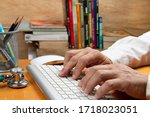 Person With Hand On Keyboard At ...