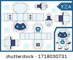 cut paper kids toys. diy 3d... | Shutterstock .eps vector #1718030731