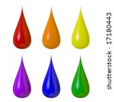 Six Colored Paint Drops...
