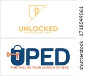 orange blue padlock key symbol...   Shutterstock .eps vector #1718049061