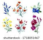 watercolor flowers arrangements.... | Shutterstock . vector #1718051467