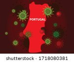 portugal map with covid 19... | Shutterstock .eps vector #1718080381