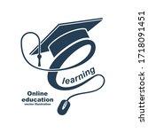 e learning concept. logo... | Shutterstock .eps vector #1718091451