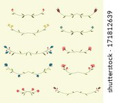 vector set of floral elements  | Shutterstock .eps vector #171812639