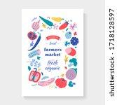 farmers market frame  vector... | Shutterstock .eps vector #1718128597