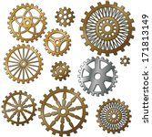 the gears in the style of steam punk. Raster