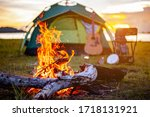 Camping Bonfire Surrounded By...