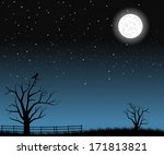 bright full moon with tree... | Shutterstock .eps vector #171813821