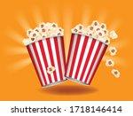 Popcorn Boxes On Orange...