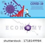 coronavirus outbreak cause a... | Shutterstock .eps vector #1718149984