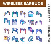 wireless earbuds stereo device... | Shutterstock .eps vector #1718155567