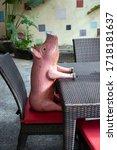 Wooden Pig Waiting At...