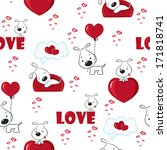 cute background with dogs and... | Shutterstock .eps vector #171818741