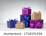 Set Of Gift Boxes On Gray...
