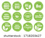 vegan food logo labels and tags.... | Shutterstock .eps vector #1718203627