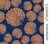 seamless pattern with seashells....   Shutterstock .eps vector #1718205271