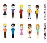 social distancing concept flat... | Shutterstock .eps vector #1718211421