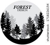 forest logo design vector... | Shutterstock .eps vector #1718226154