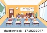smiling pupils sitting at desks ...   Shutterstock .eps vector #1718231047