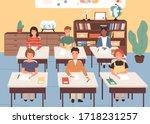 smiling classmates listening...   Shutterstock .eps vector #1718231257