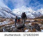 trekkers walking to annapurna... | Shutterstock . vector #171823244