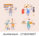 small business owner. cartoon... | Shutterstock .eps vector #1718254837
