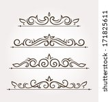 set of four calligraphic floral ... | Shutterstock .eps vector #171825611