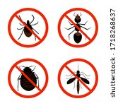 harmful insects set icon... | Shutterstock .eps vector #1718268637