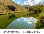 Colorful summer panorama of the Stellisee lake. Great outdoor scene with Matterhorn (Monte Cervino, Mont Cervin) in Swiss Alps, Zermatt, Switzerland 02 August 2016. Gre - stock photo
