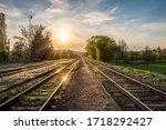 Spring Sunset On Railway Tracks ...