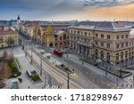 Budapest, Hungary - Aerial view of totally empty Vamhaz Boulevard (Vamhaz korut), Fovam Square station and Central Market Hall. No people and traffic during the Coronavirus pandemic quarantine