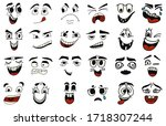 cartoon faces. kawaii cute... | Shutterstock .eps vector #1718307244