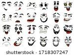 cartoon faces. kawaii cute... | Shutterstock .eps vector #1718307247