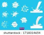 milk splashes  drops and blots. ... | Shutterstock .eps vector #1718314654