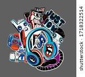 comics dudes and cartoon... | Shutterstock .eps vector #1718322514