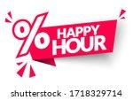 vector illsutration happy hour... | Shutterstock .eps vector #1718329714