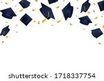 graduation hats flying in air...   Shutterstock .eps vector #1718337754