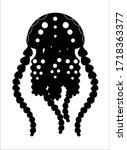 jellyfish silhouette. jellyfish ... | Shutterstock .eps vector #1718363377