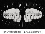 two front view fists with fight ... | Shutterstock .eps vector #1718385994