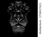 the vector logo lion for tattoo ... | Shutterstock .eps vector #1718417611