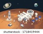 isometric mars colonization ... | Shutterstock .eps vector #1718419444