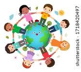 group of kids holding hands... | Shutterstock .eps vector #1718420497