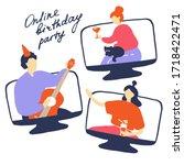 online quarantine party.... | Shutterstock .eps vector #1718422471