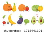 happy fruits and vegetables...   Shutterstock .eps vector #1718441101